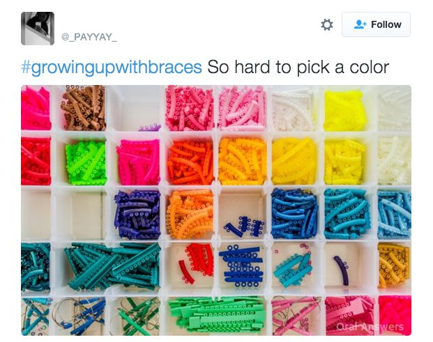 When you had to make the HARD decision of what color bands you wanted to wear for the next month:   21 Tweets That People Who Grew Up Wearing Braces Will Find Painfully True