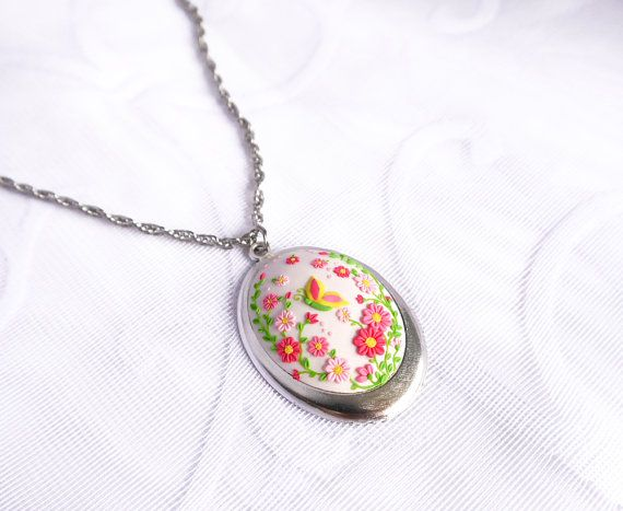 Butterfly necklace Polymer clay embroidery Garden by BeLoveCreate