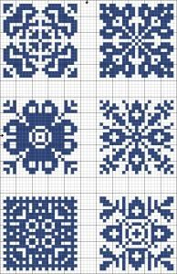 Blue tiles 04 | Free chart for cross-stitch, filet crochet | Chart for pattern - Gráfico / monochrome / small