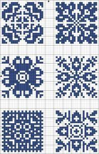 Cross-stitch Blue tiles, part 4 | Free chart