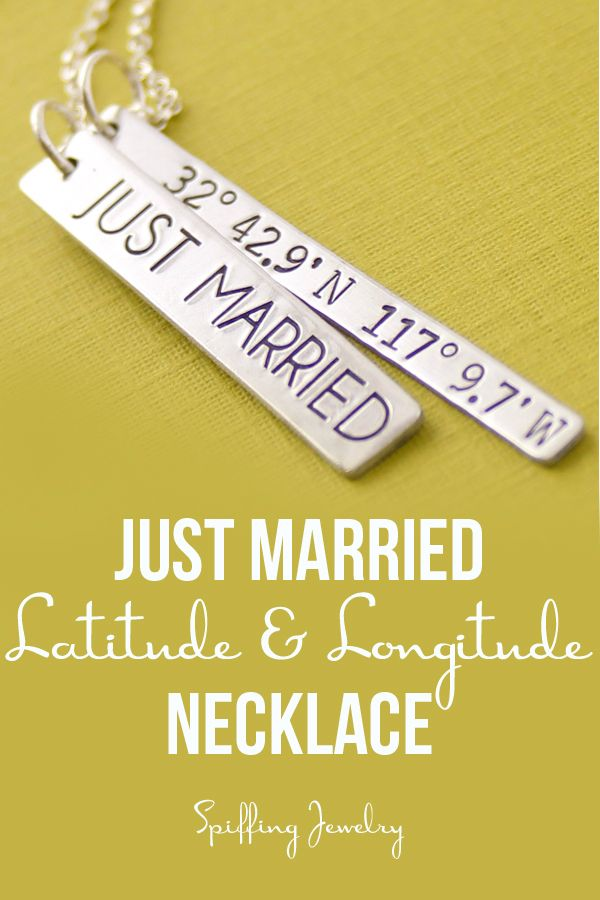 "Customized with the coordinates of your wedding, this necklace is a fun, classic way to show off your ""Just Married"" status!"