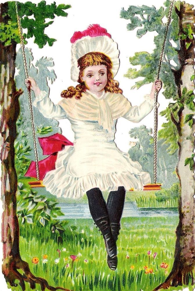 Oblaten Glanzbild scrap die cut chromo Kind child  14cm  Schaukel swinging