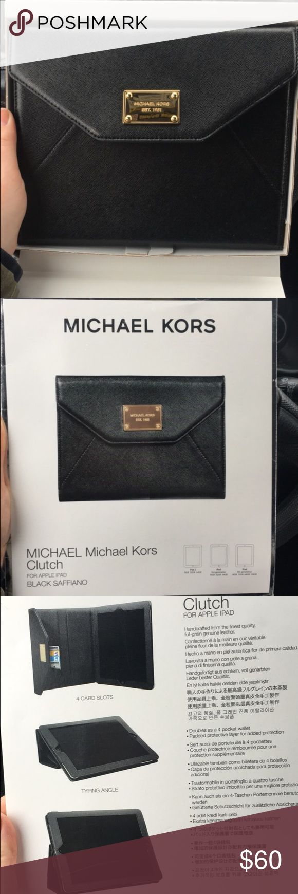 NWT Michael Kors iPad Case New in box! Adorable Michael Kors iPad case. Will fit iPad 2, iPad 3rd generation, and iPad 4th generation. Can tilt and turn screen as shown in picture. Also has credit card slots! Michael Kors Accessories Tablet Cases