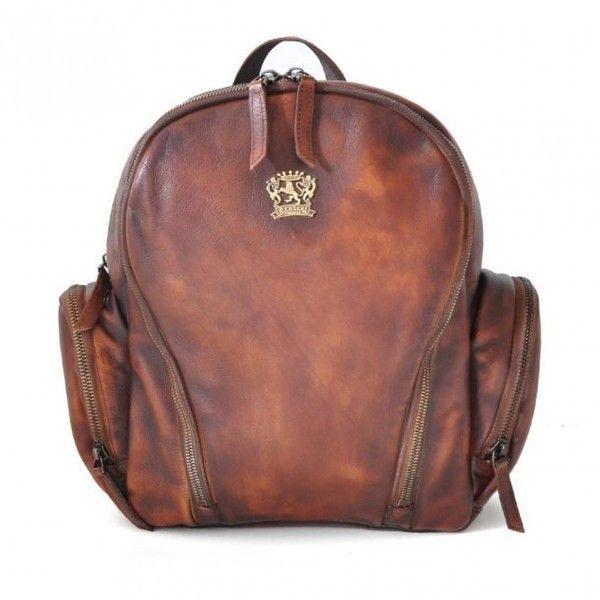 """Pratesi """"Montepulciano"""" leather backpack shoulder bag via Polyvore featuring bags, shoulder bag, backpack bags, brown backpacks, leather backpack и shoulder hand bags"""