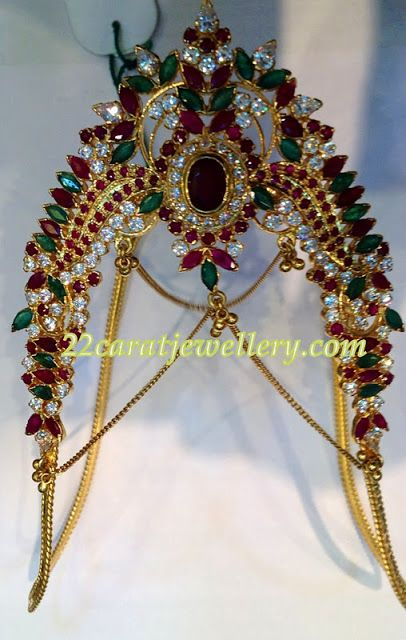 Jewellery Designs: Huge Gemstone Studded Aravanki