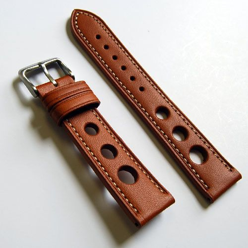 LUX Tan Genuine Calf Leather Grand Prix Rally Style Watch Band | luxwatchstraps