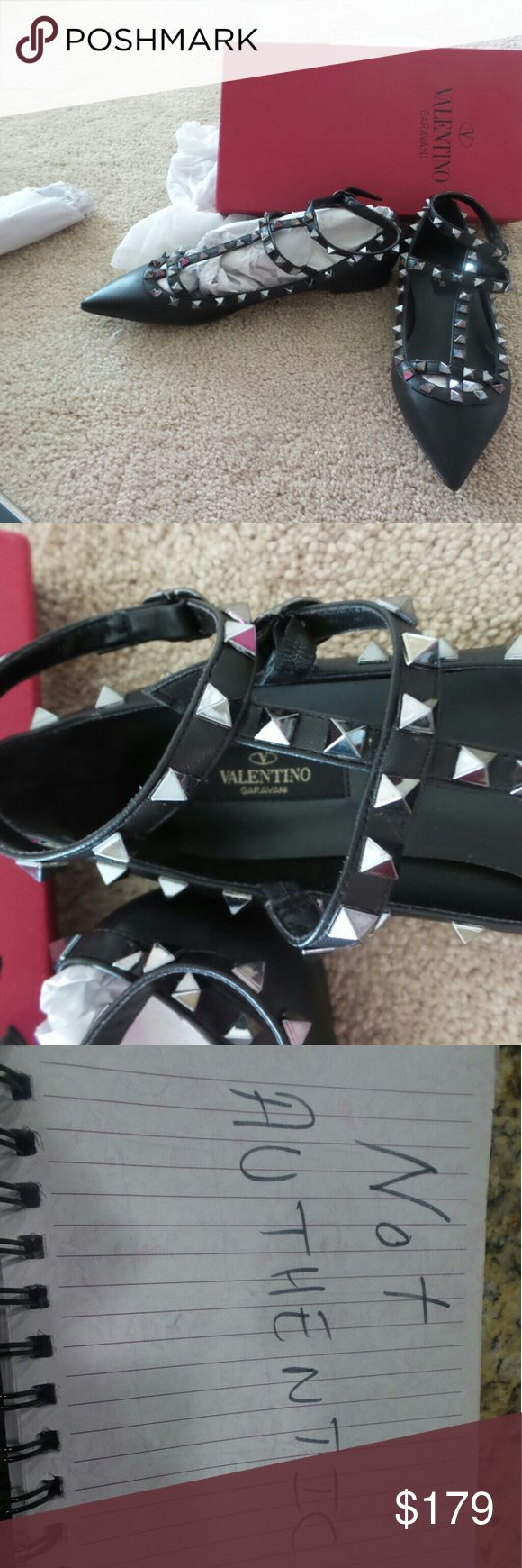 Valentino studded flats black Check all the pictures please before buying.  Silver studs.  Brand new . Size 39 but fits 38. Box included Valentino Shoes Flats & Loafers