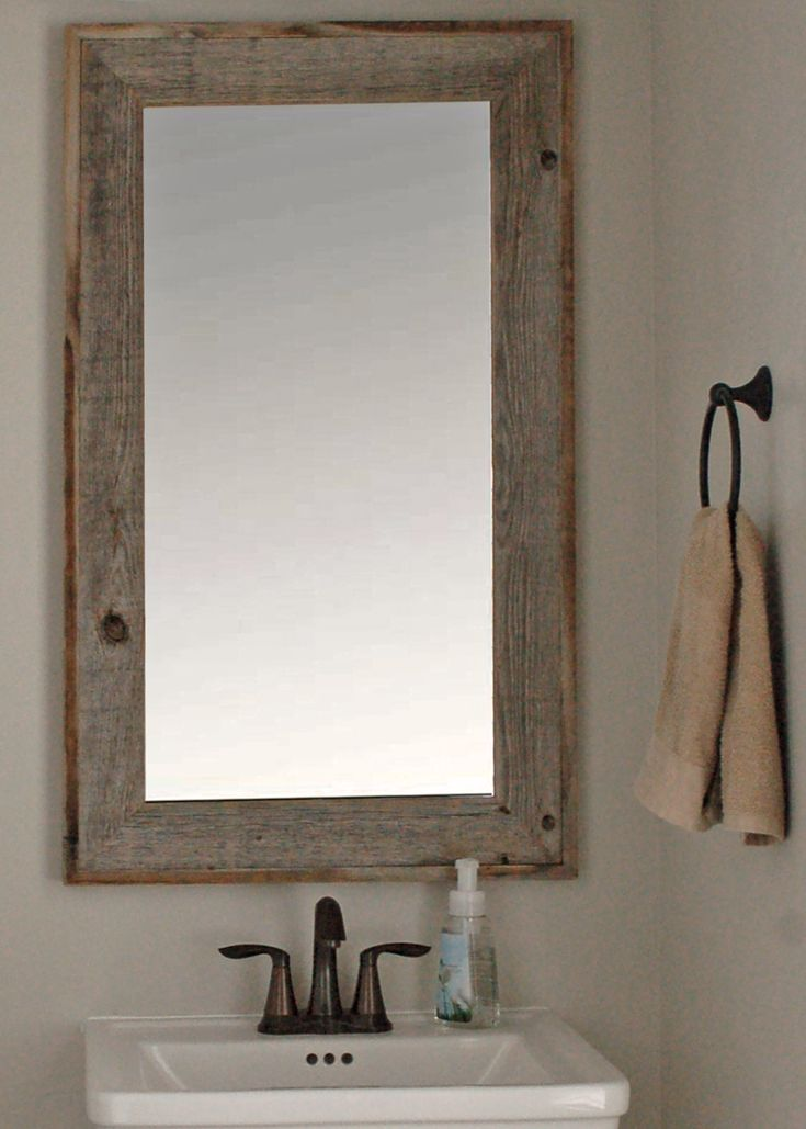 Lighthouse barnwood mirror with raised edge 26x30 for Rustic mirror