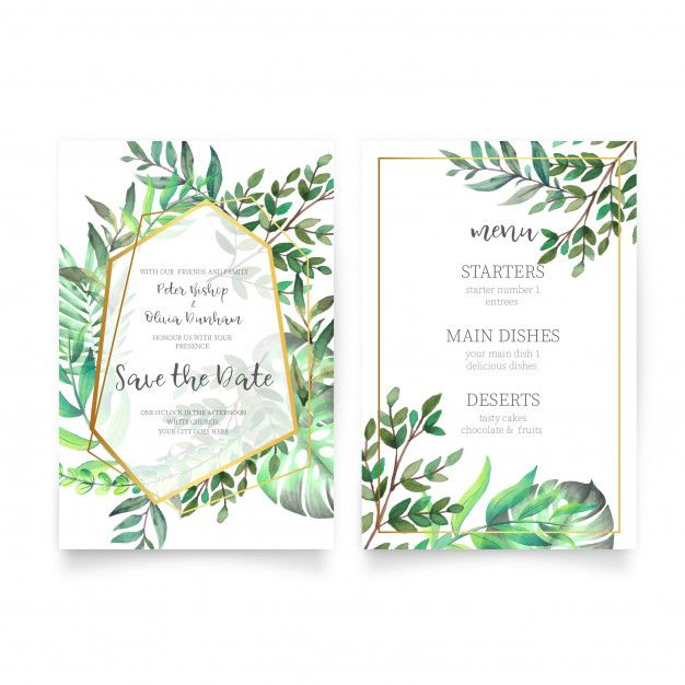 Download Floral Wedding Invitation With Watercolor Leaves For Free