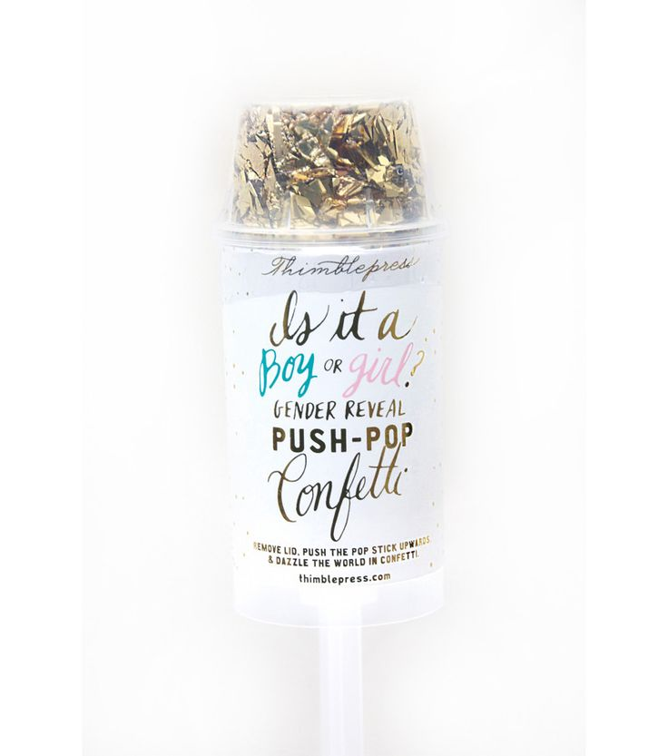 Dazzle the world in confetti and announce the gender of a new arrival with this gender reveal push-pop confetti™! Pink or blue confetti is housed in the middle of the push-pop that is covered by the g