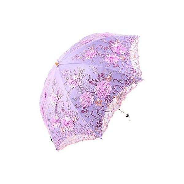 Honeystore Vintage Lace UV Sun Parasol Two Folding 3D Flower... ($33) ❤ liked on Polyvore featuring accessories, umbrellas, folding umbrella, vintage lace umbrella and purple umbrella