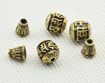 5x  Mantra  Carved  Yellow  Copper   Guru   Beads  Mala  Making --11MM