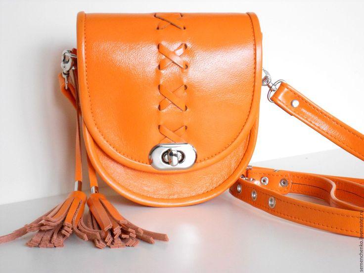 Купить Сумочка- малютка мандариновая, кожаная - однотонный, оранжевая сумка, сумка через плечо кожа