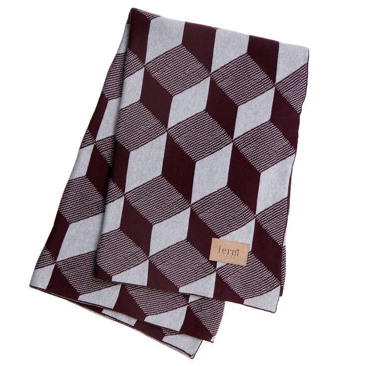 Squares+Pledd+120x150+cm,+Bordeaux,+Ferm+Living