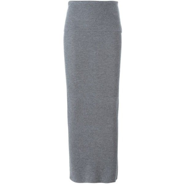 Stella McCartney Ribbed Design Maxi Skirt (8,645 EGP) ❤ liked on Polyvore featuring skirts, long gray maxi skirt, long floor length skirts, stella mccartney, long grey maxi skirt and long grey skirt