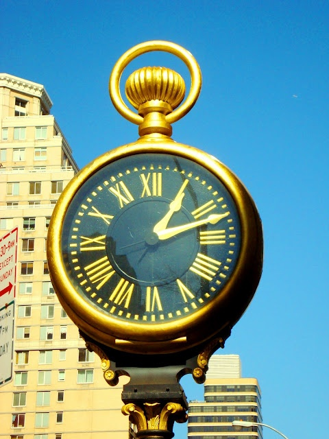 Pocket Watch Clock, New York City, New York - this 17-foot-tall clock dates from 1898, and in 1945 played a part in the The Lost Weekend, providing support for a boozed-up Ray Milland to steady himself.