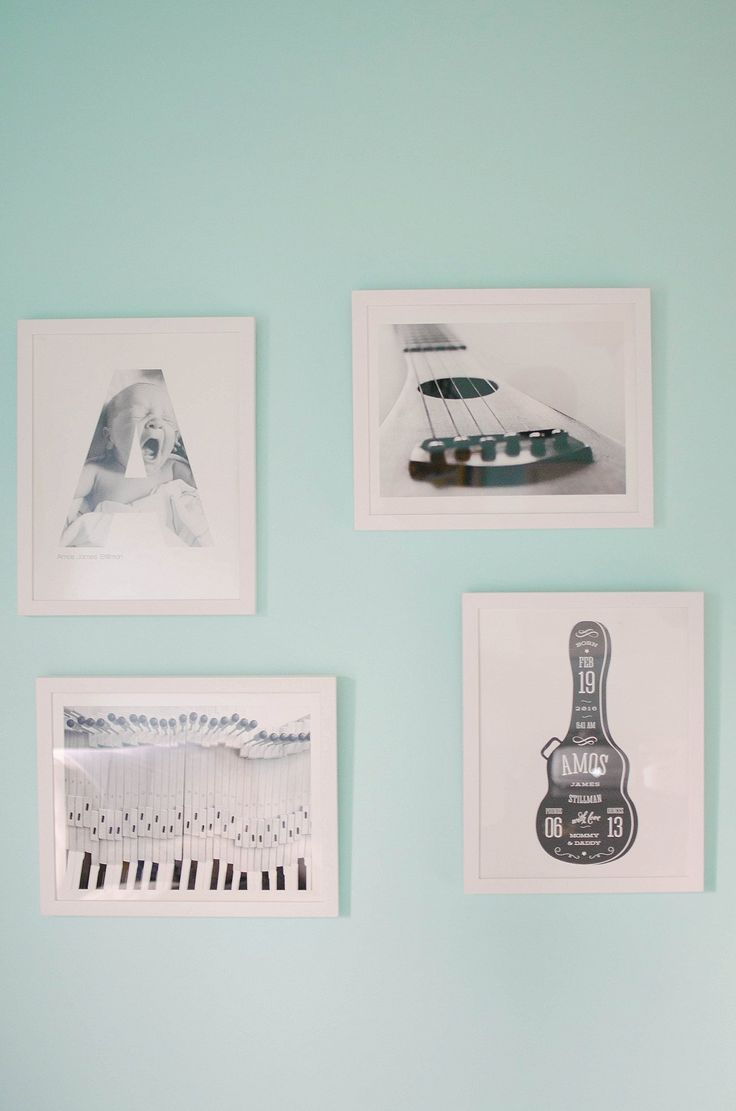 Gender Neutral Music / Record Themed / Navy, Teal, Grey Chevron and Stripe Nursery (6)