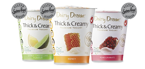 Thick and Creamy premium yoghurt- a Silver Sydney Royal winner. Available in Citrus Cheese Cake, Honey or Pomegranate at Aldi.