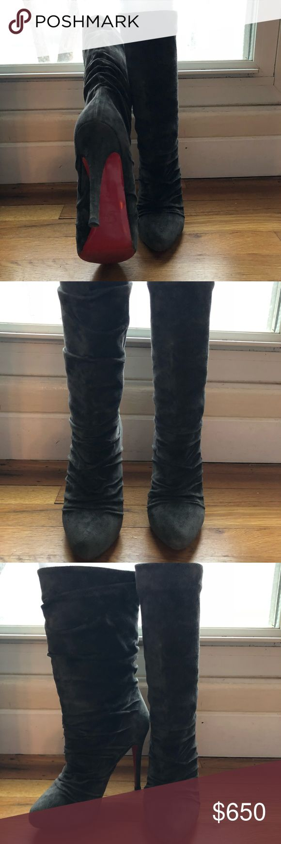 """Christian Louboutin African Gray Suede Boots Size 38 (8) Christian Louboutin African Gray suede boots worn maybe 4x.  Bottom sole protector placed by a Christian Louboutin """"only"""" vendor """"Authenic Vibram"""". Christian Louboutin Shoes Heeled Boots"""