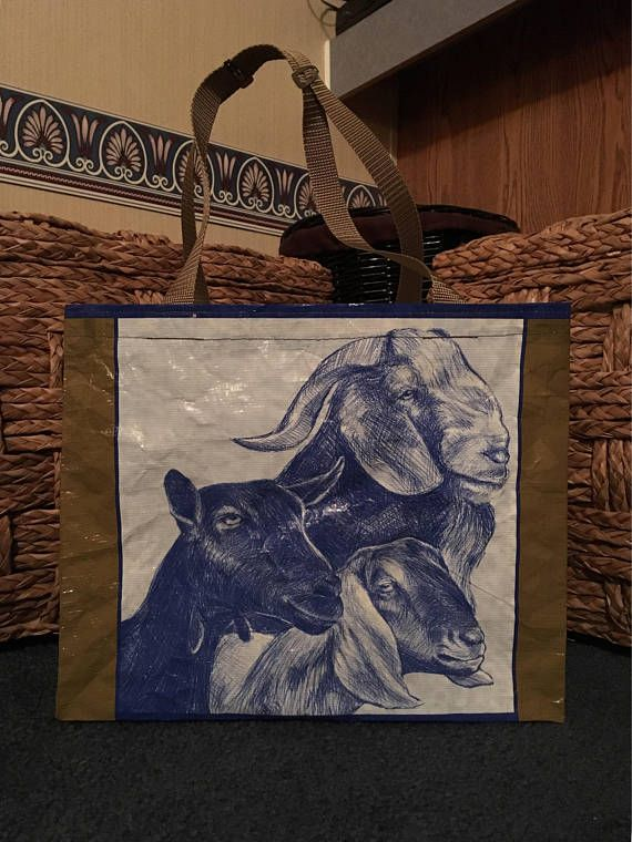 Recycled Repurposed Purina Noble Goat Feed Bag Tote With