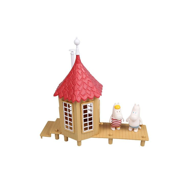 The popular Moomin Bath House. The package includes two characters, Moomintroll and Snorkmaiden.Muumien suosittu Uimahuone. Pakkaus sisältää kaksi hahmoa, Muumipeikon sekä Niiskuneidin.Muminfamiljens populära Badhus. Paketet innehåller två figurer, Mumintrollet och Snorkfröken.