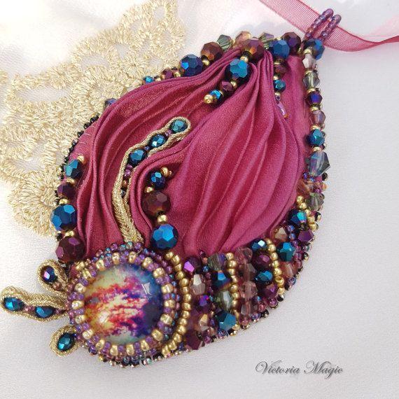 Soutache and Shibori Pendant - Shibori Ribbon silk embroidery Pendant…