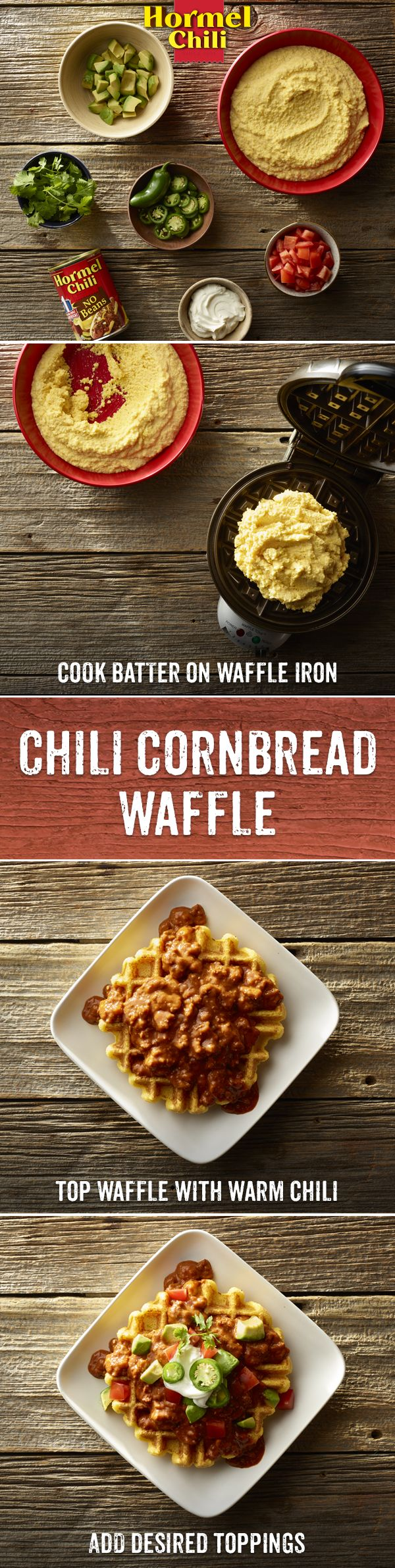 While HORMEL® Chili never gets old, Chili Nation is always hungry for something new. Like this Taco Cornbread Waffle recipe featuring America's favorite chili.   Chili Recipe   Street Food   Chili Taco   Cornbread Waffle   Easy Recipe  