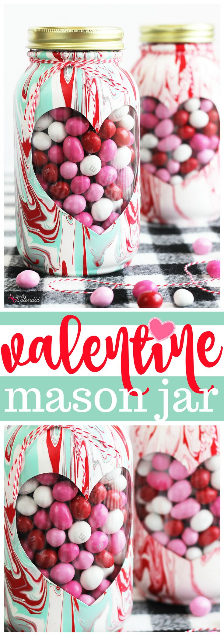 Valentine mason jar craft with a beautiful marbled paint effect