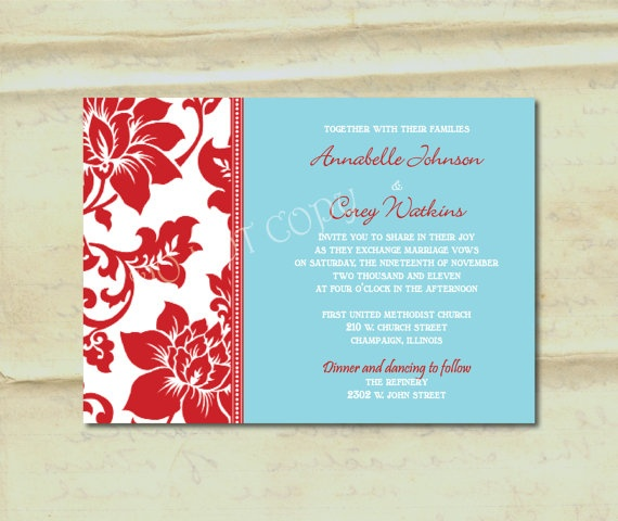 Ideal Aqua And Red Wedding Invitations Oy31