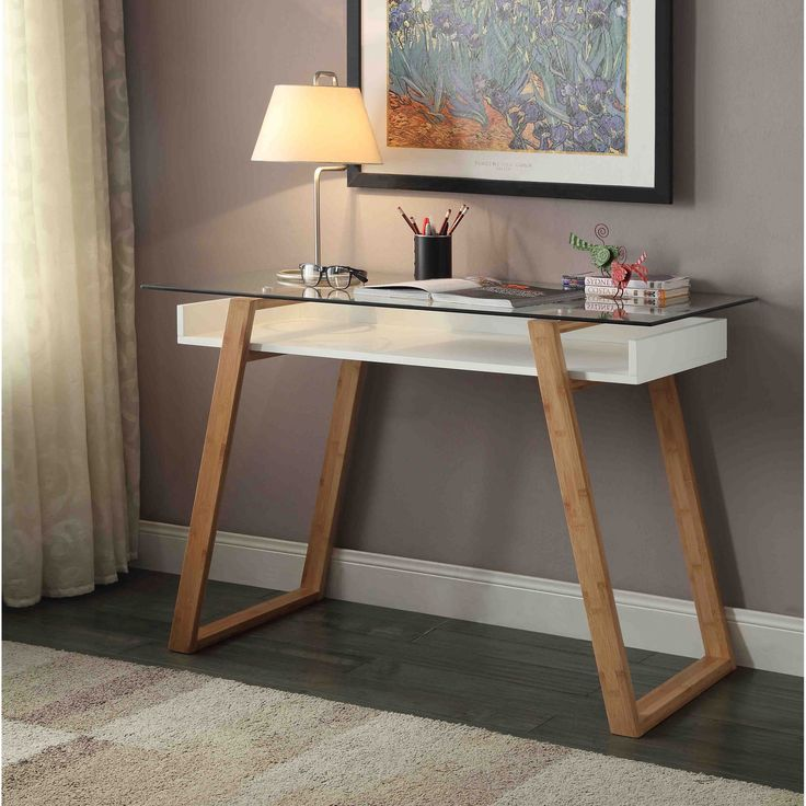 Upgrade your home office by incorporating this bamboo and glass office desk.