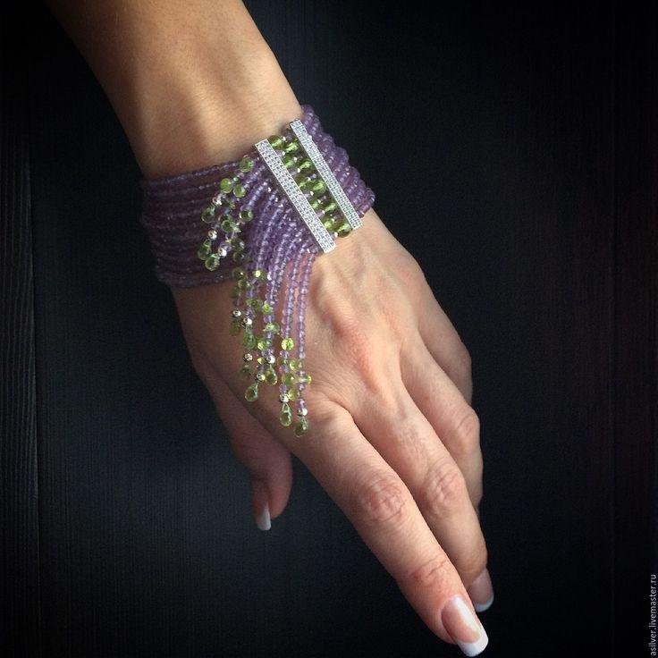 """Bracelet with bead threads / Купить Браслет """"Будет весна..."""" - сиреневый, весна, весенние краски, лавандовый аметист"""