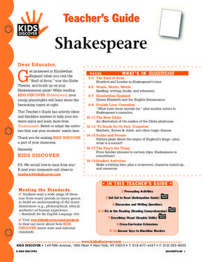 This free Lesson Plan for Kids Discover Shakespeare is packed with activities and assessments to help kids learn about one of the greatest writers in the English Language, responsible for over 36 play sincluding tragedies (Hamlet), comedies (A Midsummer Night's Dream), and histories (Henry V).