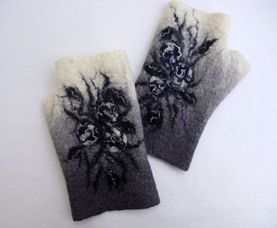 Felted Fingerless Mittens Arm warmers Gloves  White gray by LBFelt, $26.00