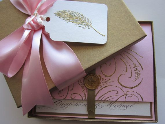 Boxed Wedding Invitation - pink - Marie Antoinette inspired -Regal -Angela Collection -  SAMPLE via Etsy