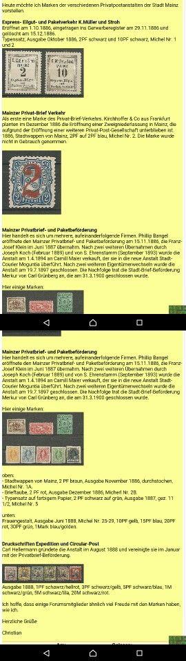 Mainzer Privatpostmarken vor 1900