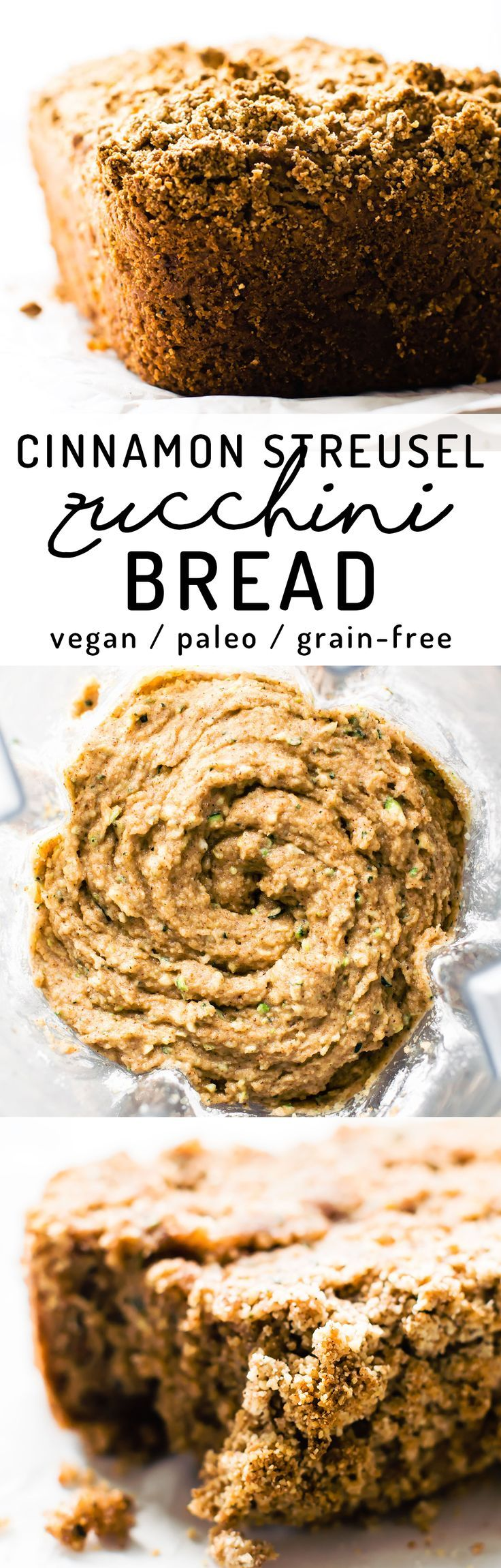 Deliciously simple almond flour zucchini bread with sweet cinnamon streusel layered into the soft fluffy loaf. Hidden veggie baking at it's best! #vegan #paleo #healthy