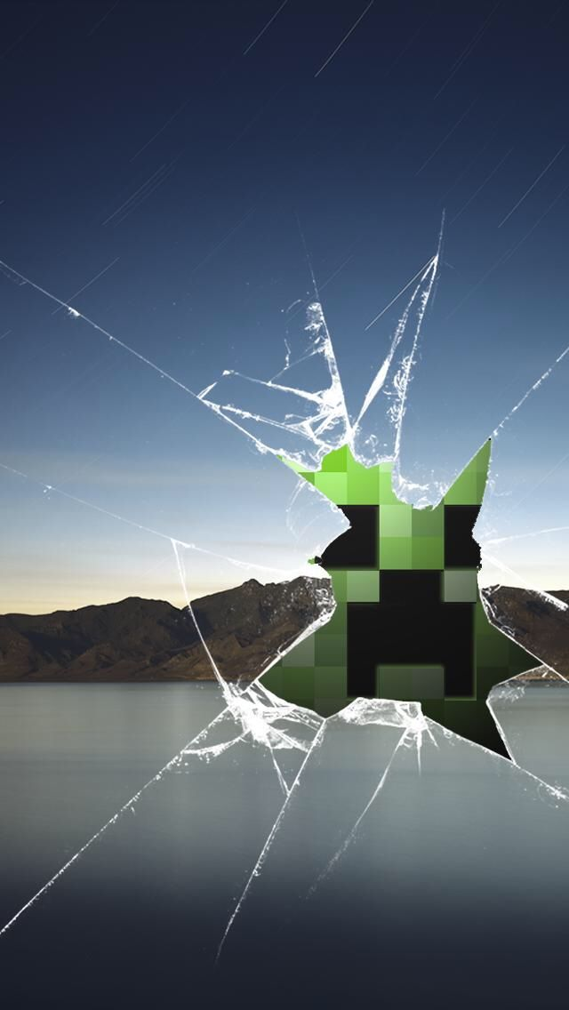 Creeper cracked glass wallpaper I use it mostly as a lock