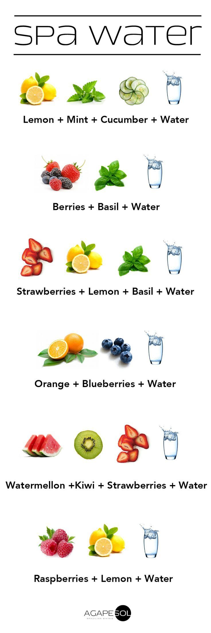Infused Water - several ideas how to infuse water, just like how they do in spas.