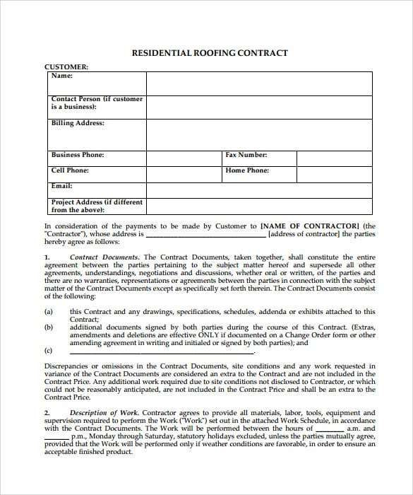 5 Roofing Contract Templates Contract Template Roofing