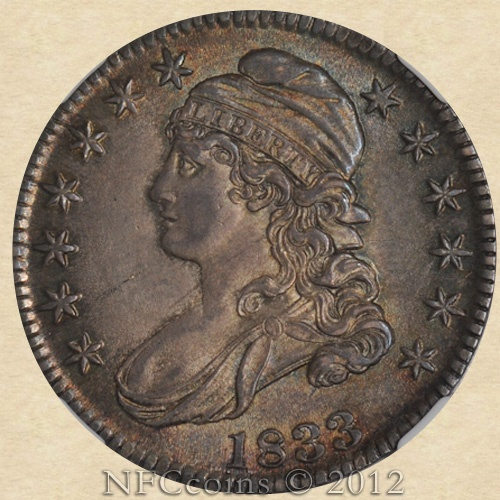 1833 Capped Bust Half MS64 NGC, obverse