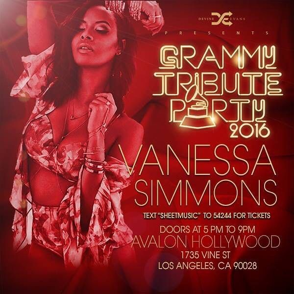 Get Ready To Join the Celebration for @devineevans 7th Annual Pre Grammy Tribute Party and Book Release book on Sunday Feb 14th at @avalonhollywood 5pm - 9pm!  Music By DJ Aktive (Janet Jacksons DJ) & DJ Spinderella  Live Performance By Celebrity Guests TBA  Hosted by the daughters of music legends Vanessa Simmons & Kristina Debarge  Co-Hosted by Dania Ramirez (X-Men Entourage Devious Maids)  Event Extras!!!! - Special Invited Guest: Queen Latifah - Presentation of the Standing Ovation Award…