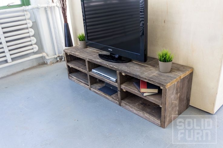 """The """"Zion"""" is a handy, practical, versatile and, above all, beautiful scaffold wood TV stand. We always make the """"Zion"""" from used scaffold boards – old wood full of character, which matches well with all modern interiors. Online ordering at www.solidfurn.com"""