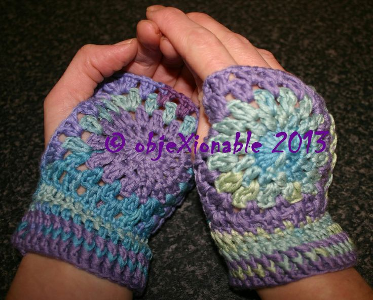 Lilac and tie dye crochet granny circle/square fingerless mittens/wristies