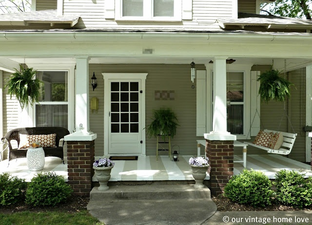 i love this striped porch from our vintage home love: The Doors, Decor Ideas, Vintage Home, Porches Decor, Summer Porch, Curb Appeal, Porches Ideas, Paintings Floors, Front Porches