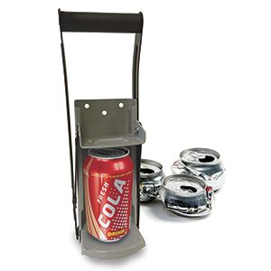 Steel Can Crusher - Make more room in your recycling bin! Heavy-gauge steel crusher reduces 12-oz and 16-oz aluminum cans to flat discs for easy recycling. Soft neoprene handle offers strong and comfortable grip. Wall-mount with included hardware. (Product Number PM22006) $19.98 CAD www.davesgift.shopregal.ca