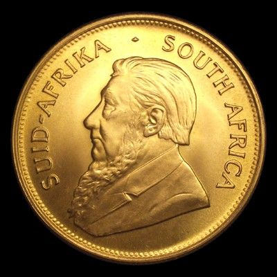One Ounce Gold South African Krugerrand (Obverse). This is the world's first modern bullion Gold coin and remains one of the most popular Gold coins ever minted. The Krugerrand was introduced in 1967 as a vehicle for private ownership of gold. The name itself is a compound of Kruger (the man depicted on the obverse) and rand, the South African unit of currency.
