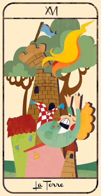 La Torre: naipe de un Tarot infantil para niños pendiente de editar; La maqueta del mismo (un libro tutorial ilustrado cuya contraportada en forma de caja guarda en su interior las cartas) se puede visitar en el Museo del Tarot de Bélgica del coleccionista de Tarot Guido Gillabel. Autora Elena Catalán