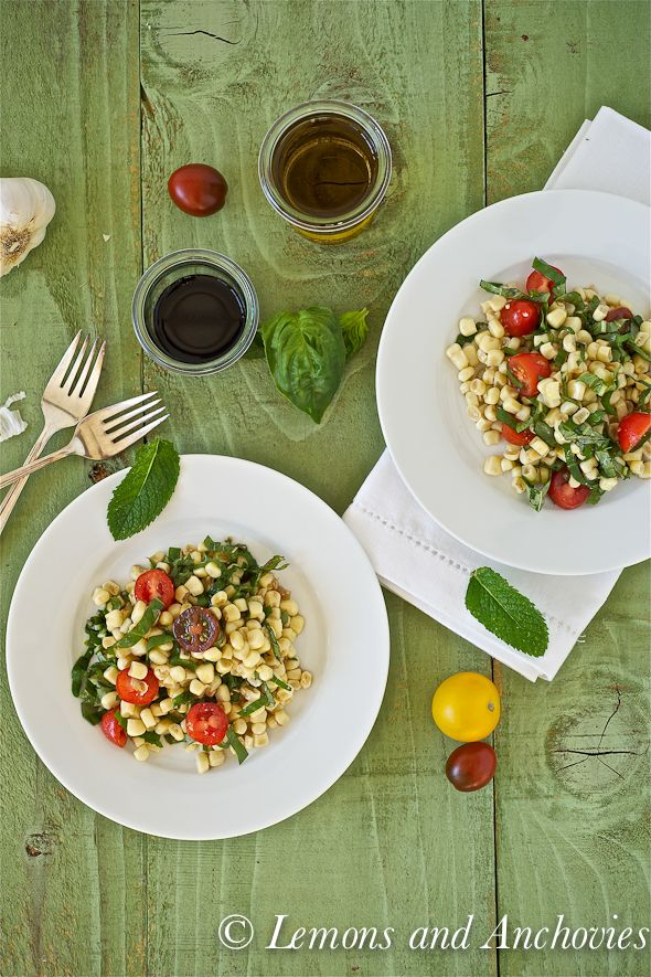 Summer Corn Salad: Corn Tomatoes, Cooking Corn, Summer Corn Salad, Creamy Garlic Broccoli, Cherries Tomatoes, Amazing Cooking, Salad Cakes, Lemon, Cooking Photo