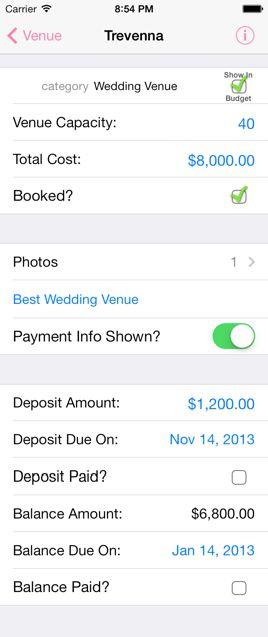 Record the Details - iWedding Deluxe - iOS 7 wedding planner
