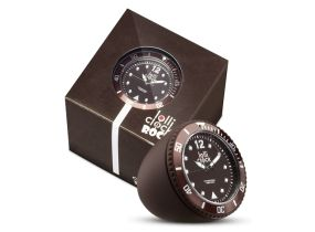 Lolliclock Rock Brown. The ultimate desk accessory or gift. 44mm, ABS Polycarbonite case + PC Rock backcover, 1ATM, PC21S movement. Buy online at www.lolliclock.com.au